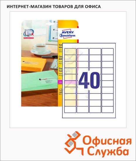 Этикетки адресные Avery Zweckform QuickPeel L4770-25, прозрачные, 45.7х25.4мм, 40шт на листе А4, 25 листов, 1000шт, для копир/ цветной лазерной печати