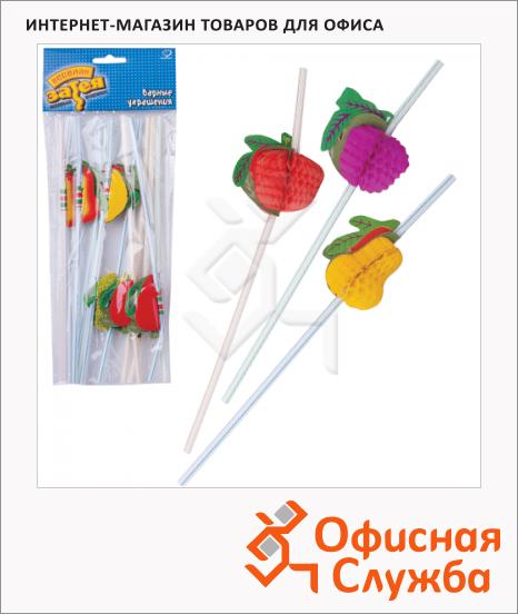 фото: Трубочки для коктейлей Веселая Затея фрукты разноцветные 10см, 12шт
