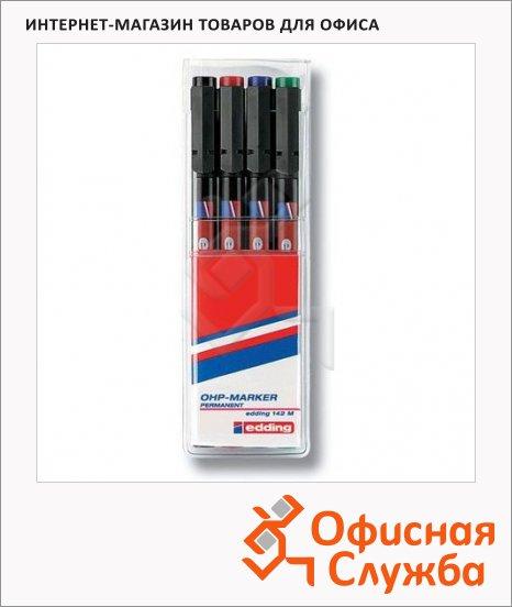 Маркер для пленок Edding 142М набор 4 цвета, 1мм, круглый наконечник, для деликатных гладких поверхностей