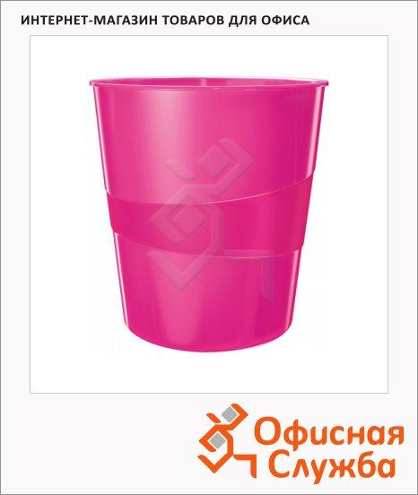 Корзина для бумаг Leitz WOW 15л, с держателем, розовая, 52781023