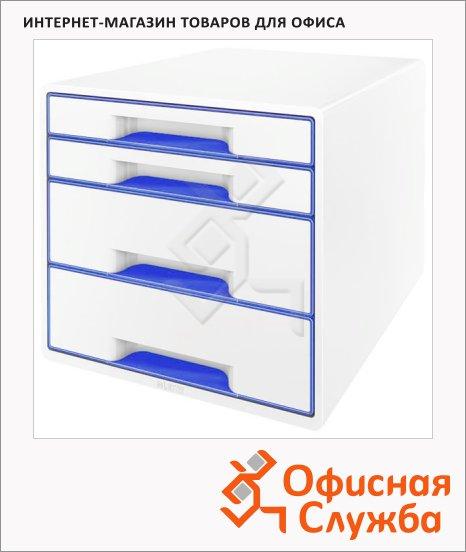 Бокс для бумаг Leitz Wow 287x270x363мм, 4 ящика, бело-синий, 52131036