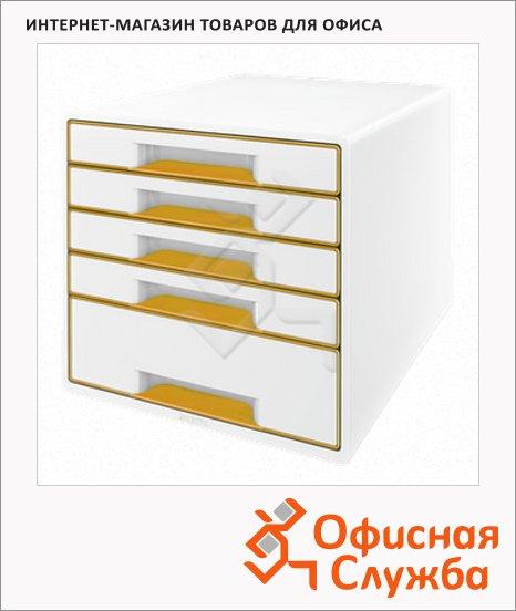 Бокс для бумаг Leitz Wow 287x270x363мм, 5 ящиков, бело-оранжевый, 52141044