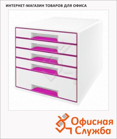 Бокс для бумаг Leitz Wow 287x270x363мм, 5 ящиков, бело-розовый, 52141023