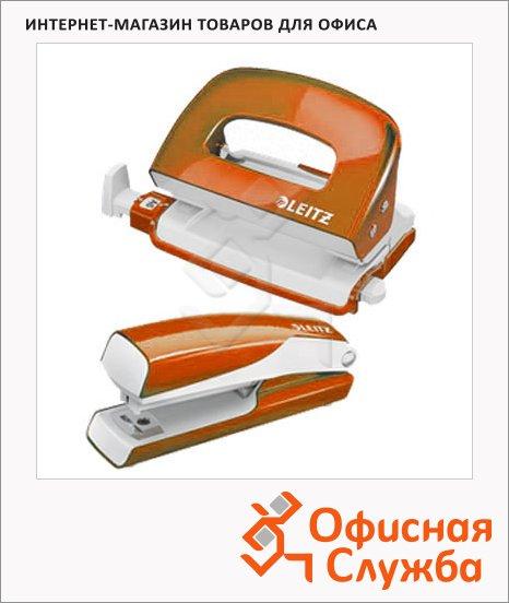 Набор степлер+дырокол Leitz Wow NeXXt оранжевый металлик, мини, 55612044