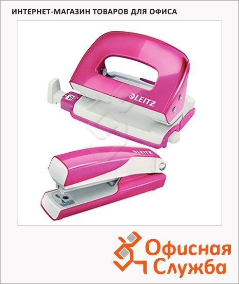 фото: Набор степлер+дырокол Leitz Wow NeXXt розовый металлик мини, 55612023