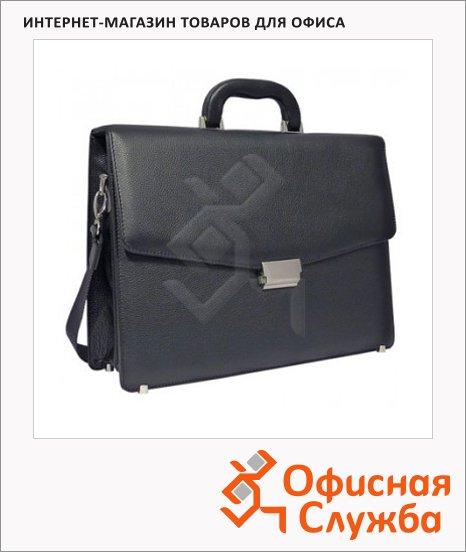 фото: Портфель 270 400х290х100мм черный, натуральная кожа