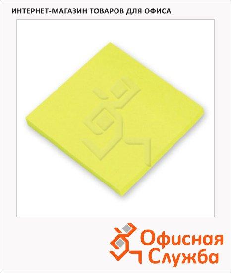 Блок для записей с клейким краем желтый, пастельный, 76х76мм, 100 листов