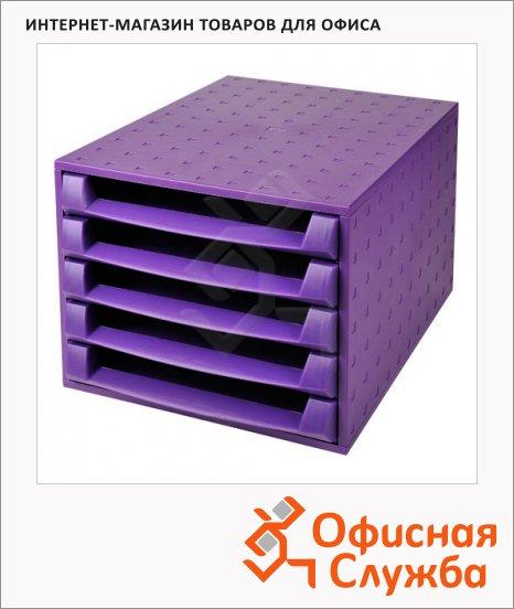 фото: Бокс для бумаг Exacompta А4 387х284х218мм, 5 секций, фиолетовый