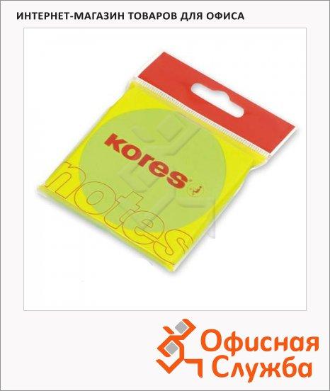 Блок для записей с клейким краем Kores зеленый, неон, 75x75мм, 100 листов