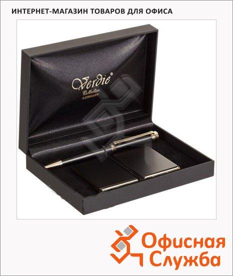 фото: Набор пишущих принадлежностей Verdie Ve-6bg шариковая ручка визитница, в футляре, черный корпус