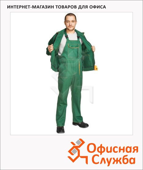 Костюм рабочий летний Мастер (р.52-54) 170-176, темно-бирюзовый, с полукомбинезоном