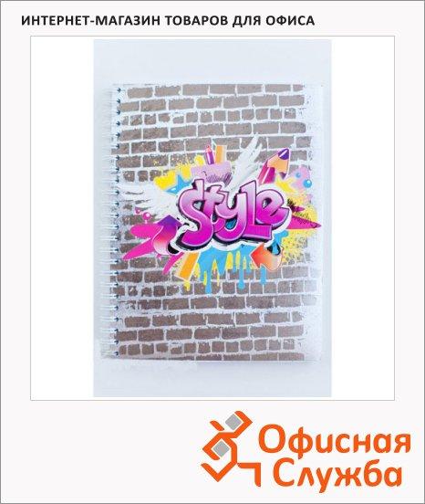 Тетрадь общая №1 School Graffiti, А5, в клетку, на спирали, мелованный картон, 48 листов