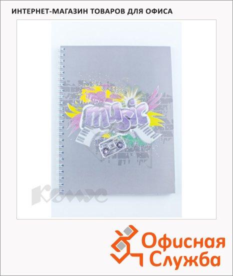 Тетрадь общая №1 School Graffiti, А5, в клетку, на спирали, мелованный картон, 80 листов