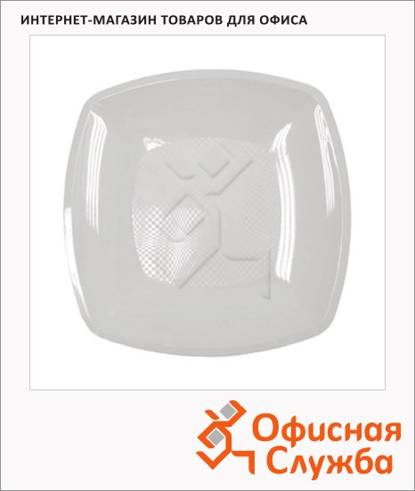 Тарелка одноразовая Buffet белая, 18см, квадратная плоская, 6шт/уп