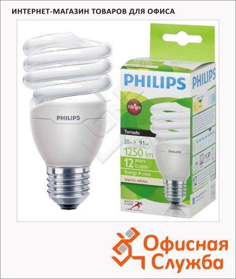 Лампа энергосберегающая Philips CLL Tornado mini T2 20(90)Вт, E27, теплый белый