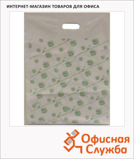 Пакет с вырубной ручкой ПВД 38х54см, 55мкм, 50 шт/уп, с рисунком
