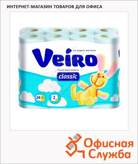 фото: Туалетная бумага Veiro Classic без аромата белая, 2 слоя, 140 листов, 17.5м, 24 рулона