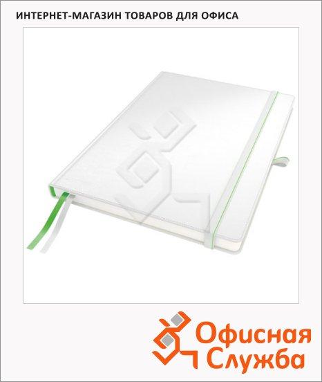 фото: Блокнот Leitz Complete белый А4, 80 листов, в клетку, на сшивке, с резинкой, твердая обложка, 44710001