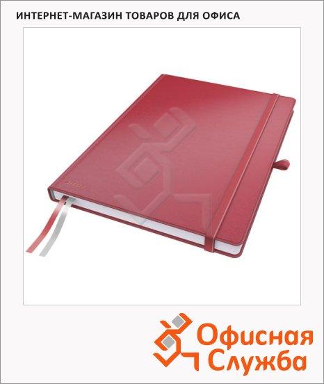 Блокнот Leitz Complete красный, А4, 80 листов, в клетку, на сшивке, с резинкой, твердая обложка, 44710025