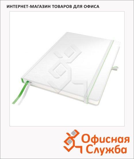 фото: Блокнот Leitz Complete белый А5, 80 листов, в клетку, на сшивке, с резинкой, твердая обложка, 44770001