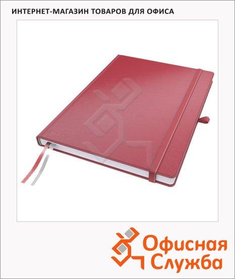 Блокнот Leitz Complete красный, А5, 80 листов, в клетку, на сшивке, с резинкой, твердая обложка, 44770025