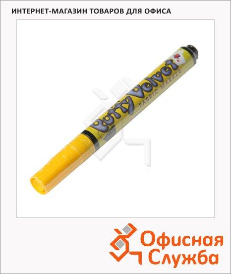 Маркер по ткани Marvy 1022 желтый, 2-3мм, овальный наконечник, с эффектом бархата