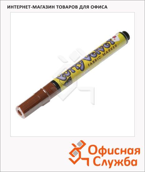 Маркер по ткани Marvy 1022 коричневый, 2-3мм, овальный наконечник, с эффектом бархата
