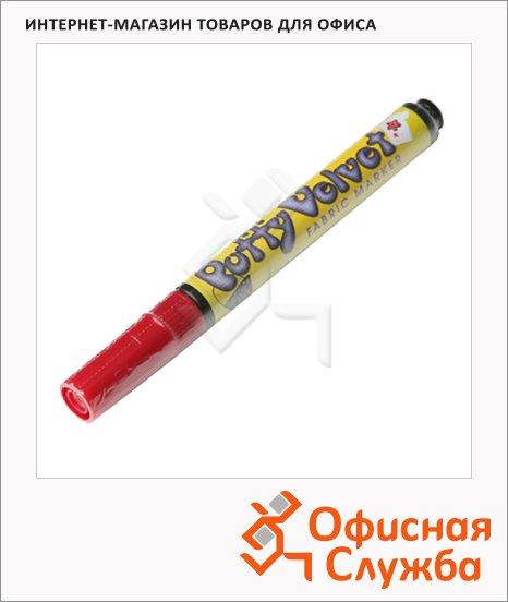 фото: Маркер по ткани Marvy 1022 красный 2-3мм, овальный наконечник, с эффектом бархата