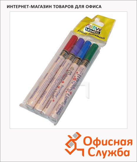 фото: Маркер для скрапбукинга Marvy 170 Memory Liner набор 4 цвета 1-2мм, овальный наконечник, серебряный с цветными контурами