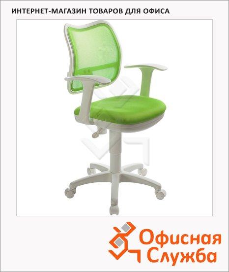 Кресло офисное Бюрократ CH-W797 ткань, крестовина пластик, белая, салатовая
