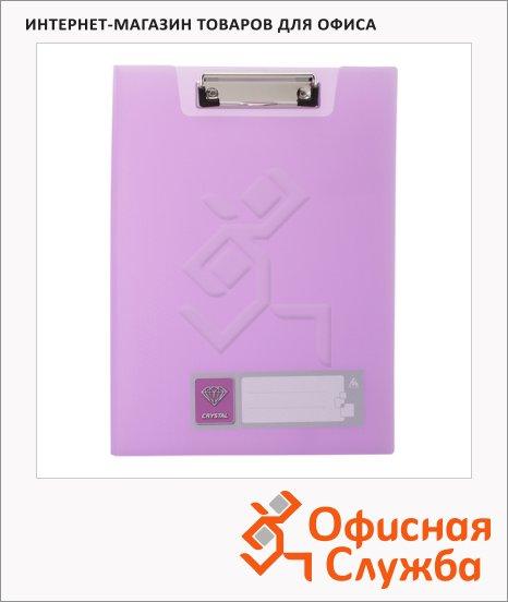 Клипборды с крышкой Бюрократ Crystal фиолетовая, А4, CR602VIO
