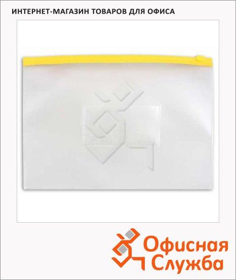 Пластиковая папка на молнии Бюрократ желтая, А4, 150мкм, BPM4AYEL