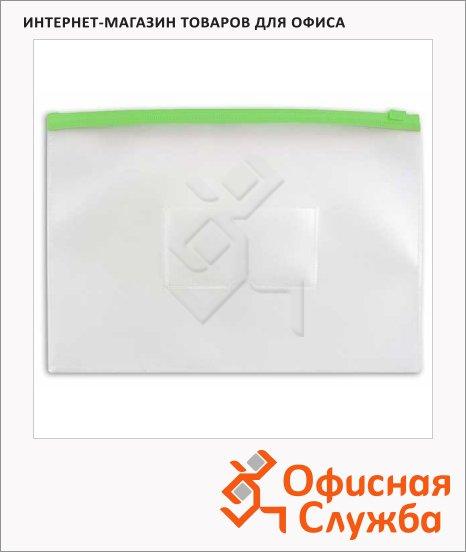 Пластиковая папка на молнии Бюрократ зеленая, А4, 150мкм, BPM4AGRN