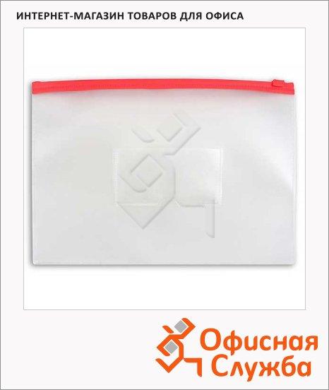 Пластиковая папка на молнии Бюрократ красная, А4, 150мкм, BPM4ARED