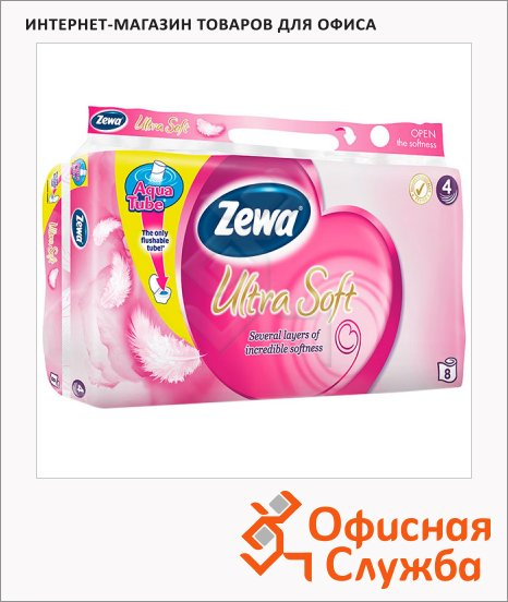 фото: Туалетная бумага Exclusive Ultra Soft без аромата белая, 4 слоя, 8 рулонов, 150 листов, 18.75м
