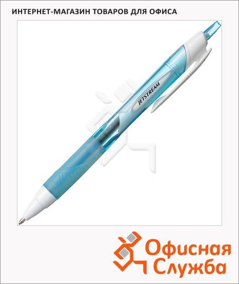 Ручка шариковая автоматическая Uni Jetstream SXN-150RT черная, 1мм, голубой корпус