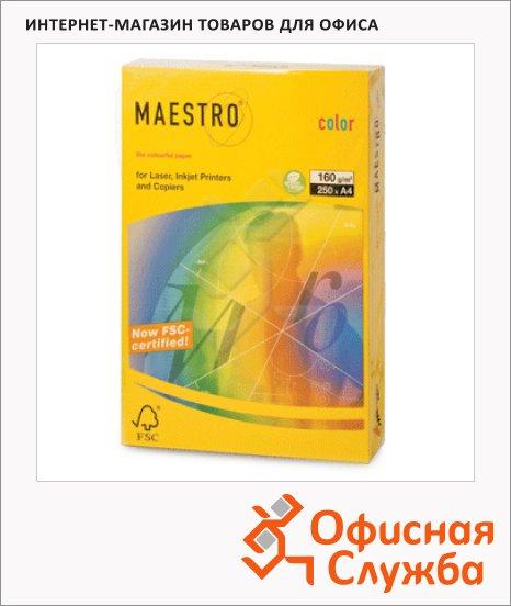 Цветная бумага для принтера Maestro Color неоновая солнечно-желтая, А4, SY40, 250 листов, 160г/м2