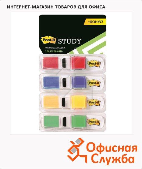 Клейкие закладки пластиковые Post-It Study 4 цвета, 50х12мм, 96шт, 683-4S-RU