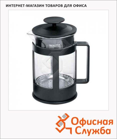 фото: Чайник заварочный френч-пресс Waltz Утро 800мл черный, стекло/пластик