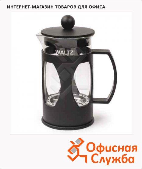 фото: Чайник заварочный френч-пресс Waltz Мозаика черный 600мл, стекло/пластик
