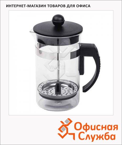 фото: Чайник заварочный френч-пресс Waltz Ланч черный 600мл, стекло/пластик/нержавеющая сталь