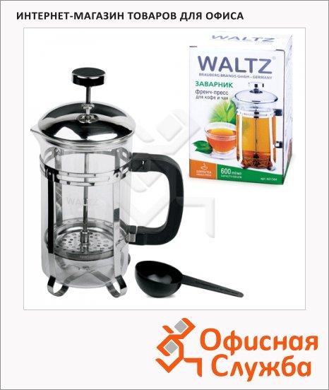 фото: Чайник заварочный френч-пресс Waltz Modern 350мл с пластиковой ложкой, стекло/пластик/нержавеющая сталь