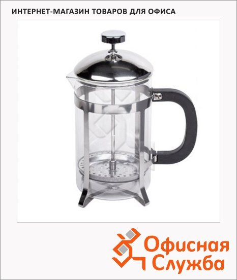 Чайник заварочный френч-пресс Waltz Классик 800мл, с пластиковой ложкой, стекло/пластик/нержавеющая сталь