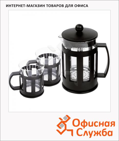 фото: Набор для заваривания чая Калейдоскоп френч-пресс (800мл)+2 стакана (по 250мл) стекло/пластик, черный