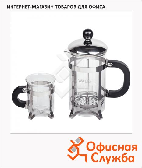 фото: Набор для заваривания чая Waltz Классик френч-пресс (600мл)+2 стакана (по 200мл)+пластиковая ложка