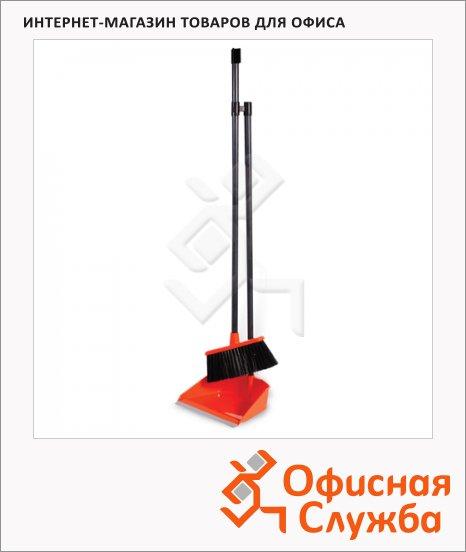 Совок для мусора М-Пластика Ленивка с ручкой, в комплекте с щеткой, оранжевый, М 5177
