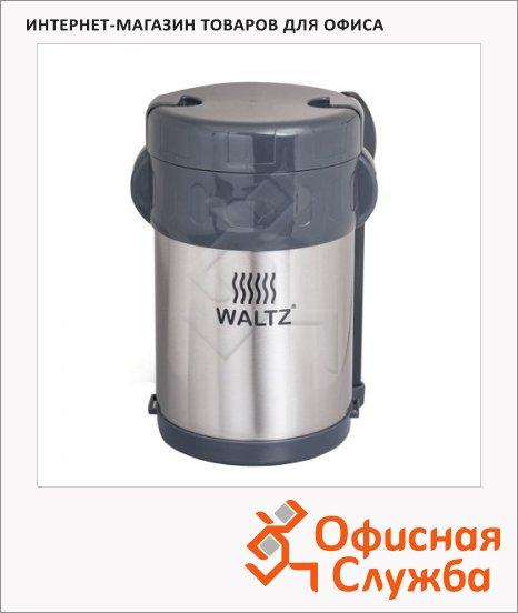фото: Термос пищевой Waltz 2л нержавеющая сталь, + ложка, вилка, 3 контейнера