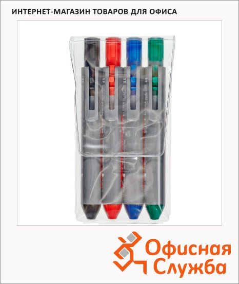Маркер для досок Edding Retract 12 набор 4 цвета, 2мм, круглый наконечник, с кнопкой