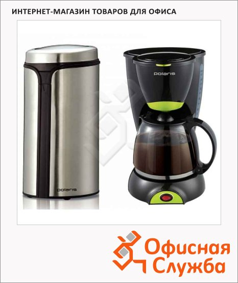фото: Кофеварка капельная Polaris PCM 1211 800 Вт черная, + Кофемолка PCG 0815A