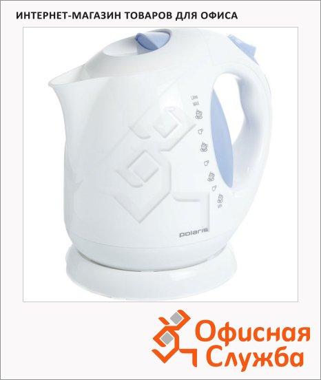 фото: Чайник электрический Polaris PWK 2013C белый/голубой 2 л, 2000 Вт